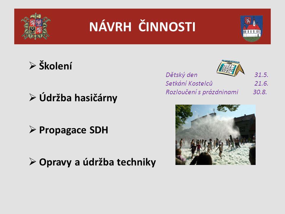 NÁVRH ČINNOSTI  Školení  Údržba hasičárny  Propagace SDH  Opravy a údržba techniky Dětský den 31.5.