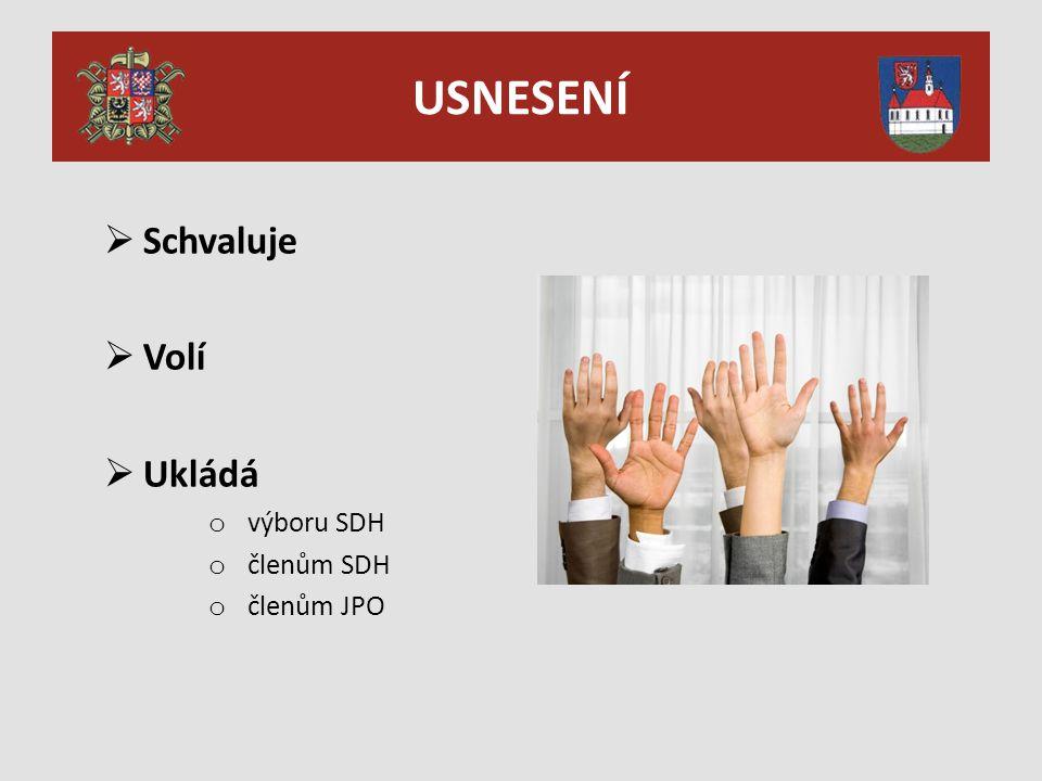 USNESENÍ  Schvaluje  Volí  Ukládá o výboru SDH o členům SDH o členům JPO