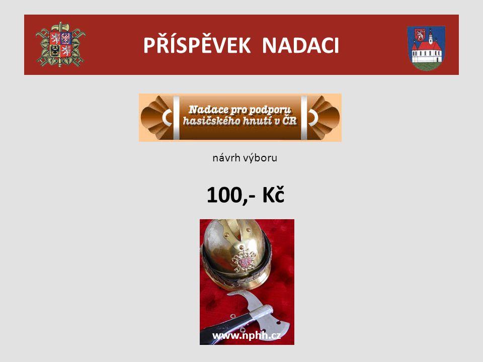 PŘÍSPĚVEK NADACI návrh výboru 100,- Kč www.nphh.cz