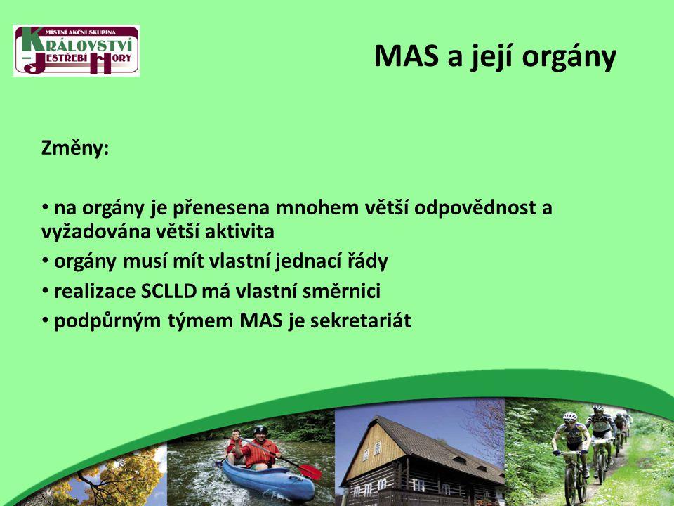 MAS a její orgány Změny: na orgány je přenesena mnohem větší odpovědnost a vyžadována větší aktivita orgány musí mít vlastní jednací řády realizace SCLLD má vlastní směrnici podpůrným týmem MAS je sekretariát