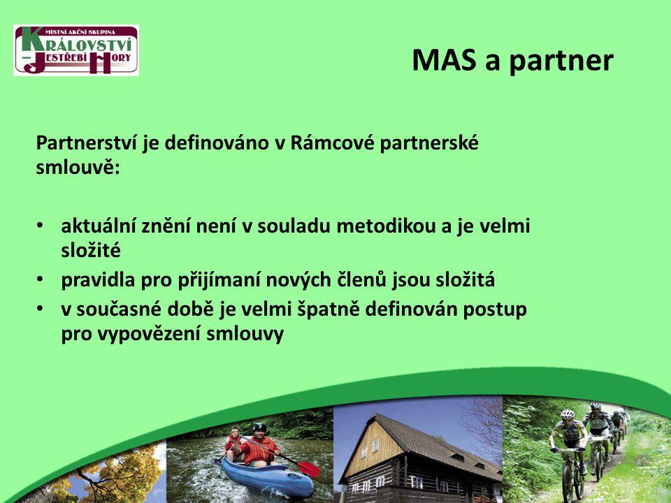 MAS a partner Partnerství je definováno v Rámcové partnerské smlouvě: aktuální znění není v souladu metodikou a je velmi složité pravidla pro přijímaní nových členů jsou složitá v současné době je velmi špatně definován postup pro vypovězení smlouvy