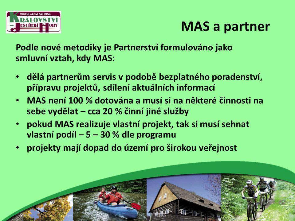 MAS a partner Podle nové metodiky je Partnerství formulováno jako smluvní vztah, kdy MAS: dělá partnerům servis v podobě bezplatného poradenství, přípravu projektů, sdílení aktuálních informací MAS není 100 % dotována a musí si na některé činnosti na sebe vydělat – cca 20 % činní jiné služby pokud MAS realizuje vlastní projekt, tak si musí sehnat vlastní podíl – 5 – 30 % dle programu projekty mají dopad do území pro širokou veřejnost