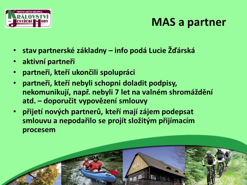 MAS a partner stav partnerské základny – info podá Lucie Žďárská aktivní partneři partneři, kteří ukončili spolupráci partneři, kteří nebyli schopni doladit podpisy, nekomunikují, např.