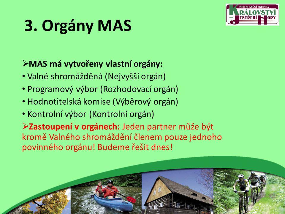 3. Orgány MAS  MAS má vytvořeny vlastní orgány: Valné shromážděná (Nejvyšší orgán) Programový výbor (Rozhodovací orgán) Hodnotitelská komise (Výběrov