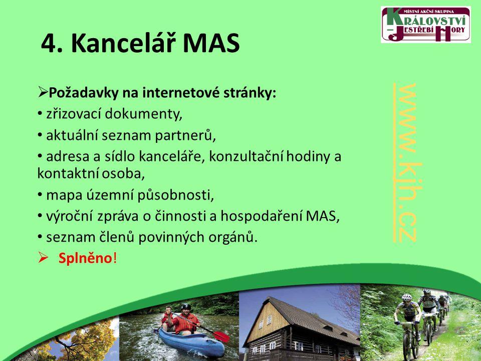 4. Kancelář MAS  Požadavky na internetové stránky: zřizovací dokumenty, aktuální seznam partnerů, adresa a sídlo kanceláře, konzultační hodiny a kont