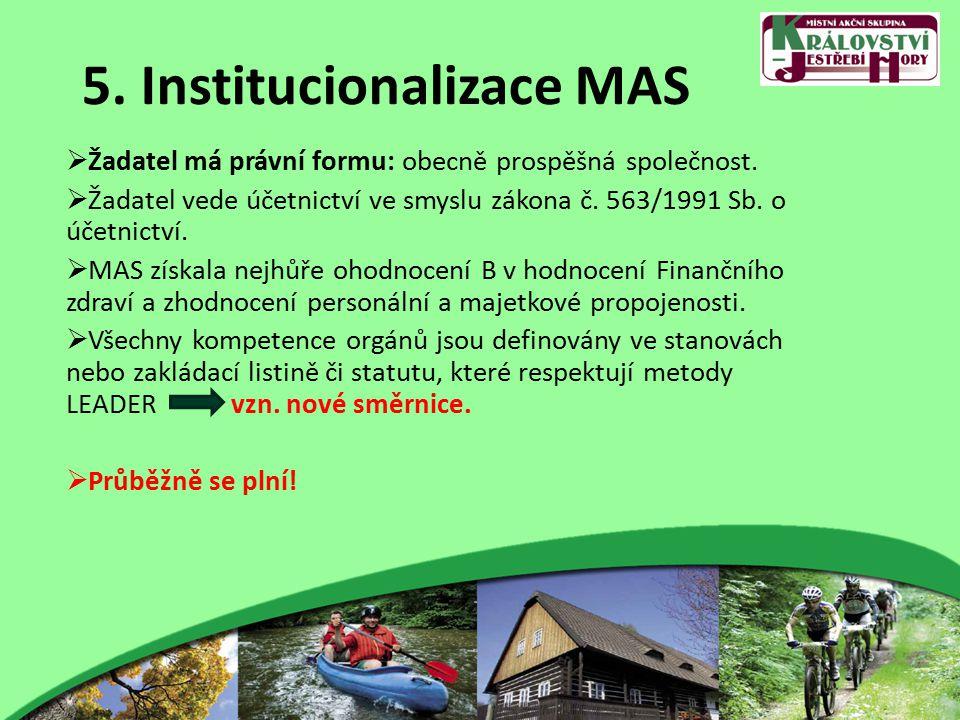 5. Institucionalizace MAS  Žadatel má právní formu: obecně prospěšná společnost.
