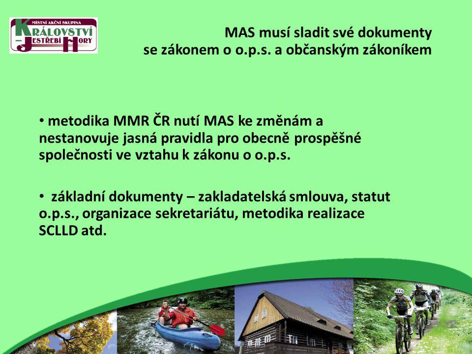 MAS musí sladit své dokumenty s novou metodikou MMR ČR Změny: zakladatelská smlouva – zakladatelé statut o.p.s.