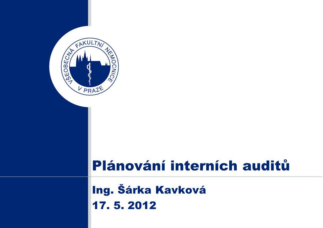 Plánování interních auditů Ing. Šárka Kavková 17. 5. 2012