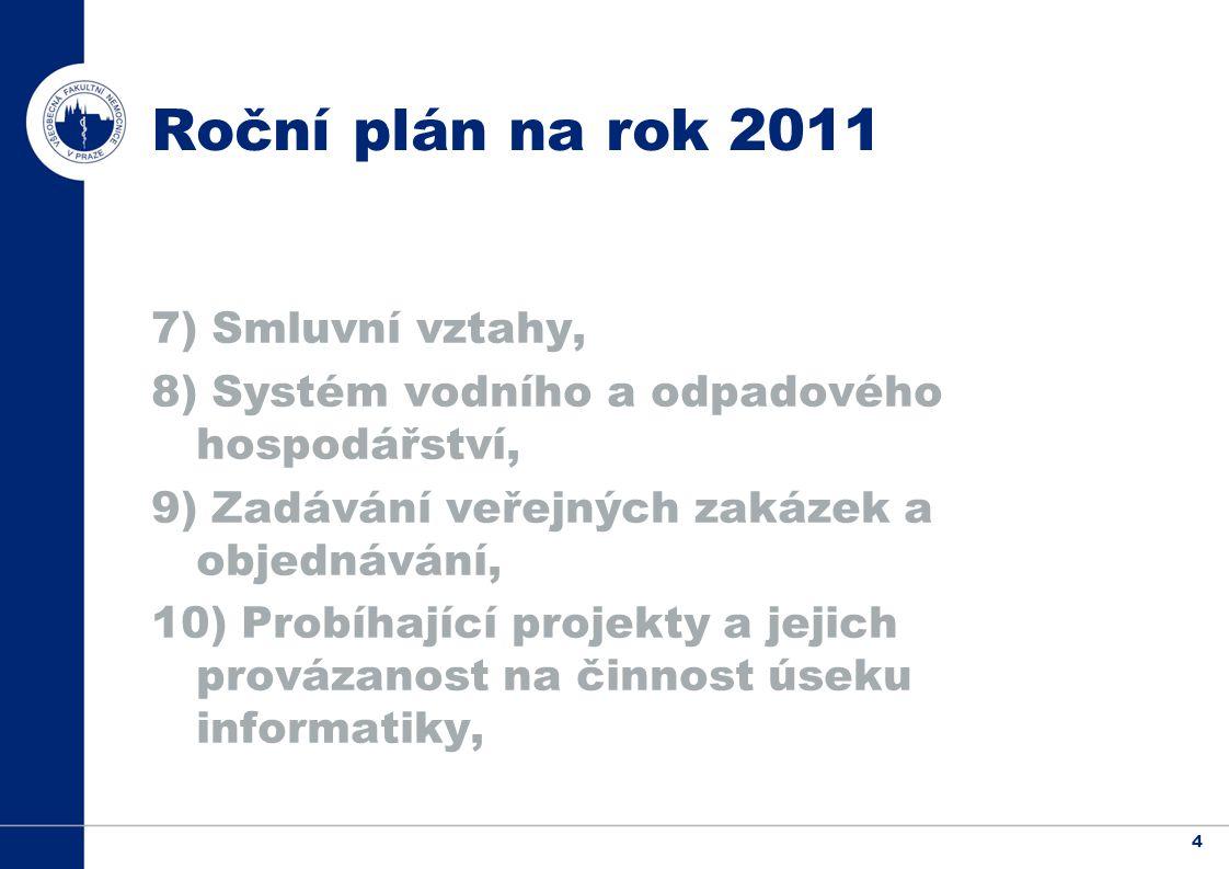 4 Roční plán na rok 2011 7) Smluvní vztahy, 8) Systém vodního a odpadového hospodářství, 9) Zadávání veřejných zakázek a objednávání, 10) Probíhající projekty a jejich provázanost na činnost úseku informatiky,