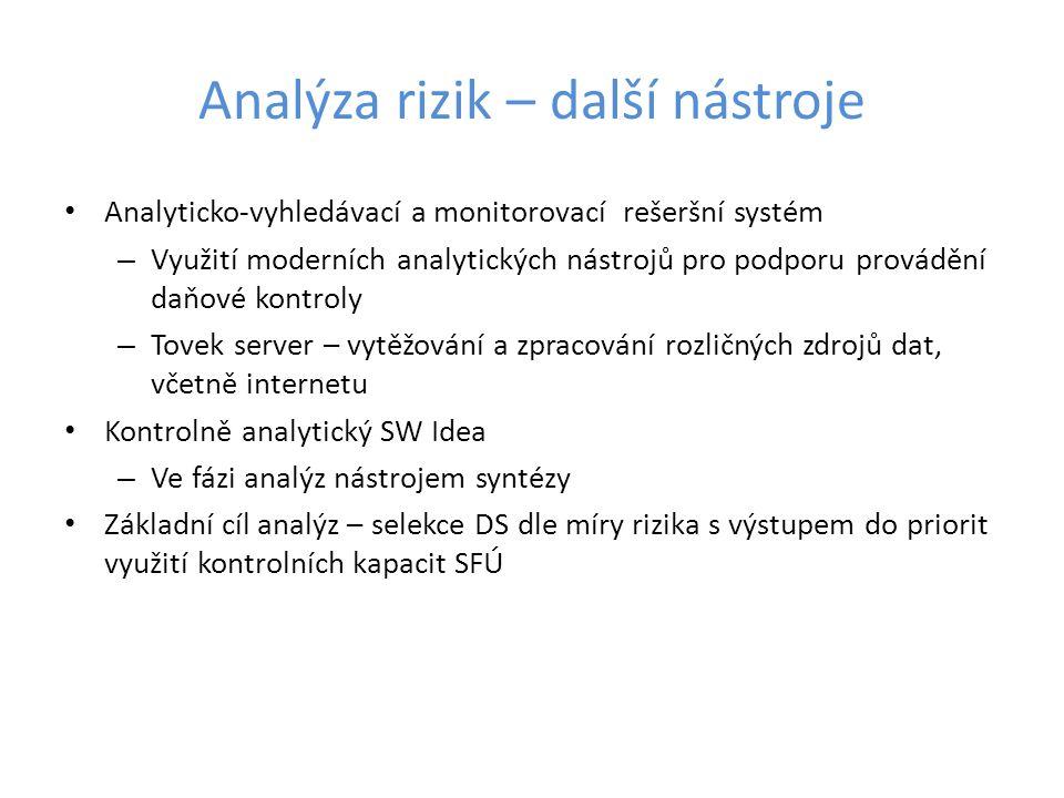 Analýza rizik – další nástroje Analyticko-vyhledávací a monitorovací rešeršní systém – Využití moderních analytických nástrojů pro podporu provádění d