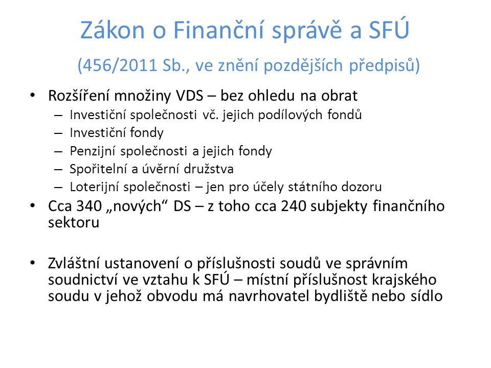 Zákon o Finanční správě a SFÚ (456/2011 Sb., ve znění pozdějších předpisů) Rozšíření množiny VDS – bez ohledu na obrat – Investiční společnosti vč. je