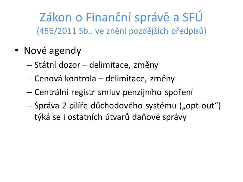 Zákon o Finanční správě a SFÚ (456/2011 Sb., ve znění pozdějších předpisů) Nové agendy – Státní dozor – delimitace, změny – Cenová kontrola – delimita