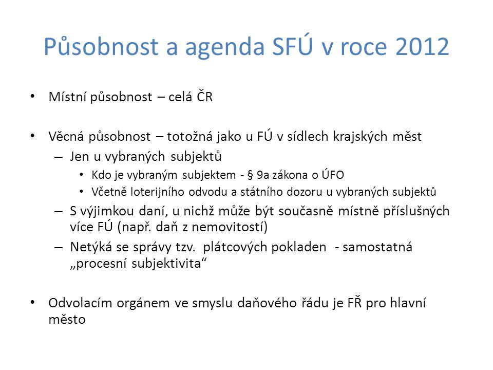 Působnost a agenda SFÚ v roce 2012 Místní působnost – celá ČR Věcná působnost – totožná jako u FÚ v sídlech krajských měst – Jen u vybraných subjektů