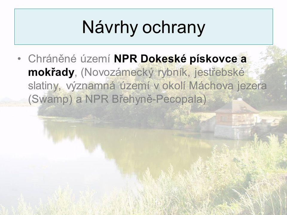 Návrhy ochrany Chráněné území NPR Dokeské pískovce a mokřady, (Novozámecký rybník, jestřebské slatiny, významná území v okolí Máchova jezera (Swamp) a