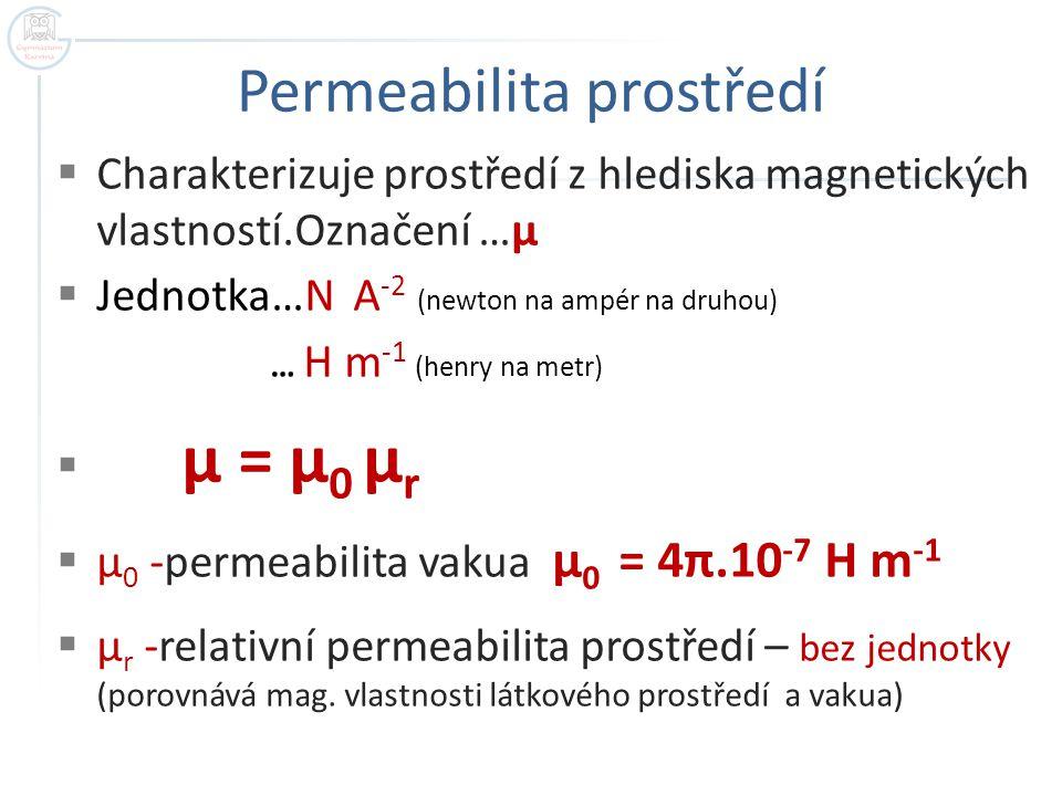 Permeabilita prostředí  Charakterizuje prostředí z hlediska magnetických vlastností.Označení …μ  Jednotka…N A -2 (newton na ampér na druhou) … H m -