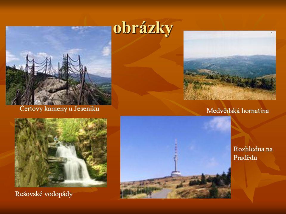 obrázky Čertovy kameny u Jeseníku Medvědská hornatina Rešovské vodopády Rozhledna na Pradědu