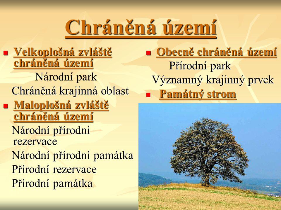 Chráněná území Velkoplošná zvláště chráněná území Velkoplošná zvláště chráněná území Národní park Chráněná krajinná oblast Chráněná krajinná oblast Ma