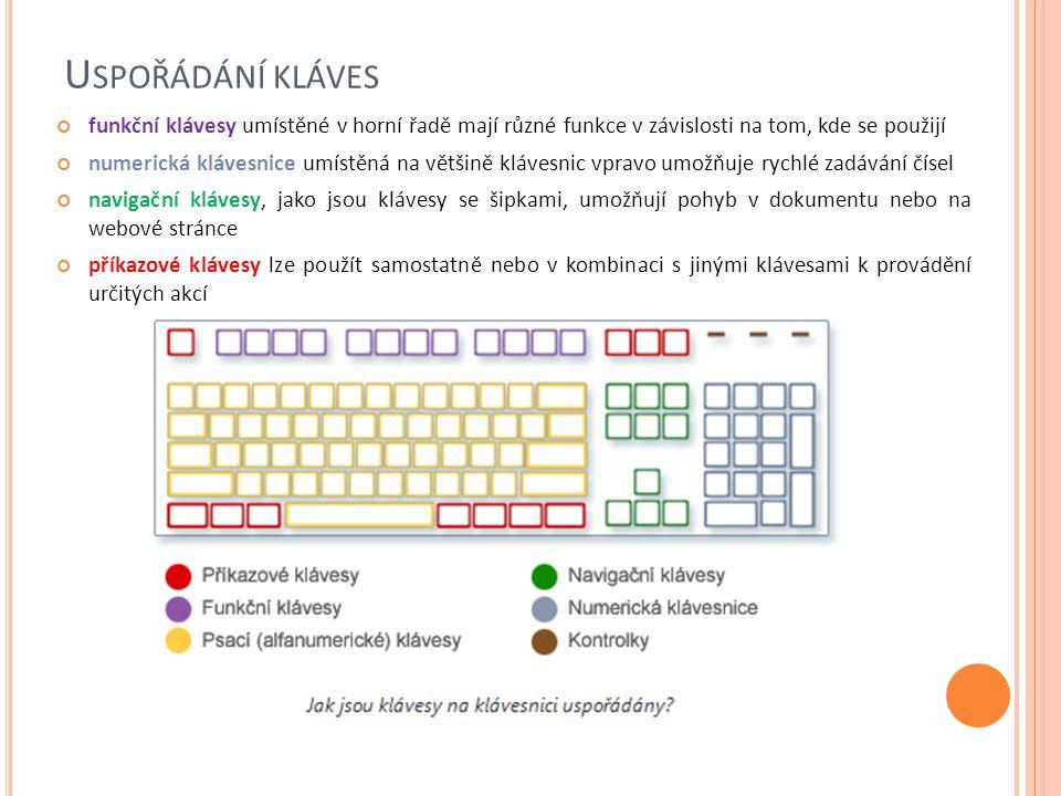 R ŮZNÉ DRUHY KLÁVESNIC klávesnici můžeme k počítači připojit pomocí konektoru PS/2, pomocí sběrnice USB, bezdrátově Klávesnice mívá různé tvary: ergonomické klávesniceergonomické klávesnice, které snižují únavu z dlouhého psaní multimediální klávesnicemultimediální klávesnice, pro hráče počítačových her další tvary