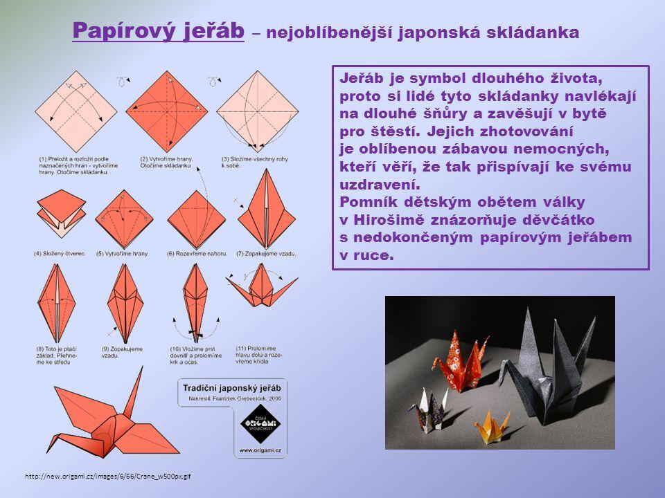 http://new.origami.cz/images/6/66/Crane_w500px.gif Papírový jeřáb – nejoblíbenější japonská skládanka Jeřáb je symbol dlouhého života, proto si lidé t