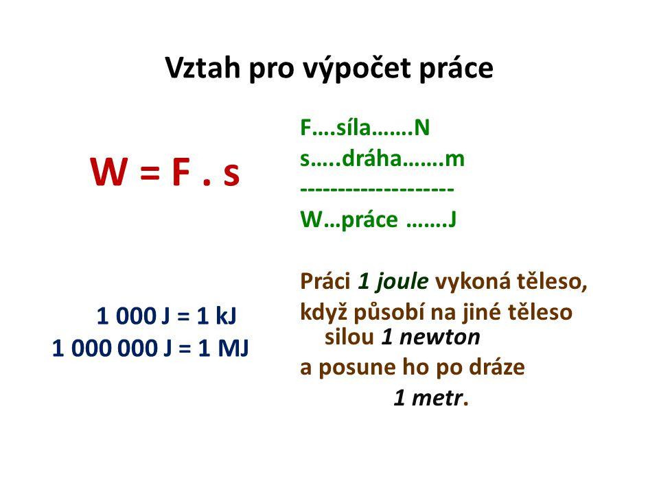 Vztah pro výpočet práce W = F.