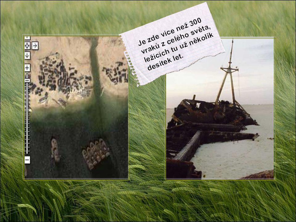 7. Zátoka odložených lodí. Po znárodnění rybářského průmyslu v Mauretánii byly lodě ve velikém počtu na pobřeží jednoduše opuštěny a ponechány svému o