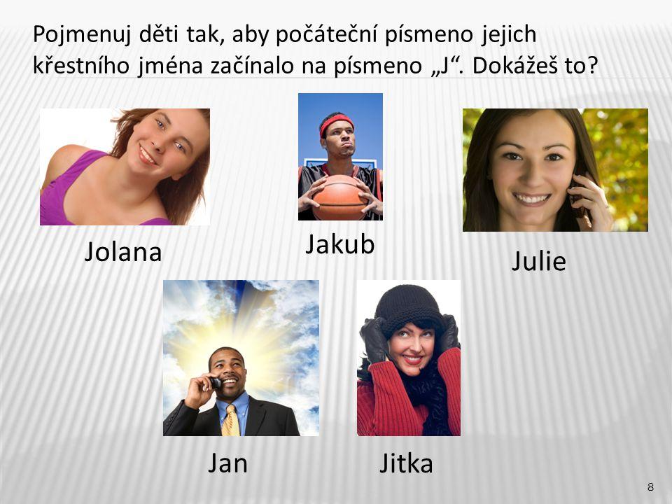 """Julie 8 Jolana Jakub Jan Jitka Pojmenuj děti tak, aby počáteční písmeno jejich křestního jména začínalo na písmeno """"J ."""