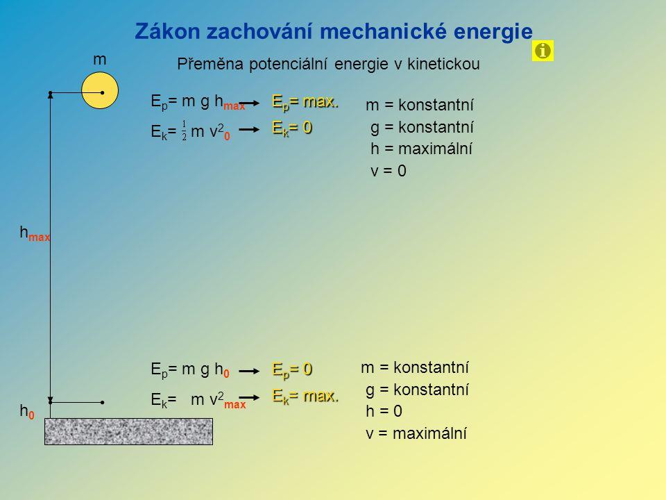 h max Přeměna potenciální energie v kinetickou Zákon zachování mechanické energie E p = m g h max E k = m v 2 0 m m = konstantní g = konstantní h = maximální v = 0 E p = max.