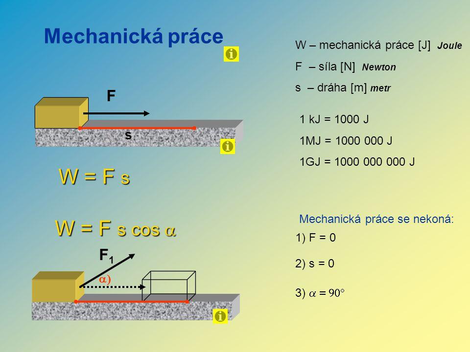 Mechanická práce F s W = F s W – mechanická práce [J] Joule F – síla [N] Newton s – dráha [m] metr Mechanická práce se nekoná: 1) F = 0 2) s = 0 F1F1  W = F s cos  3)  1 kJ = 1000 J 1MJ = 1000 000 J 1GJ = 1000 000 000 J