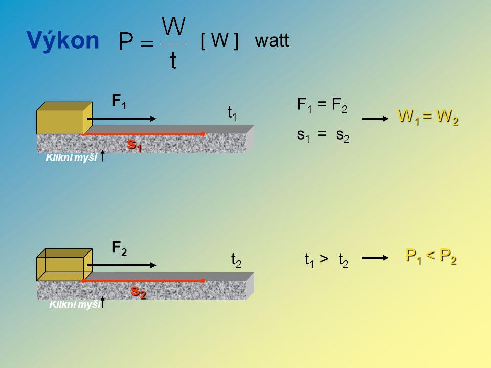 Výkon F1F1 F2F2 Klikni myší [ W ] watt s1s1s1s1 s2s2s2s2 F 1 = F 2 s 1 = s 2 W1 = W2 t 1 > t 2 P1 < P2 t1t1 t2t2