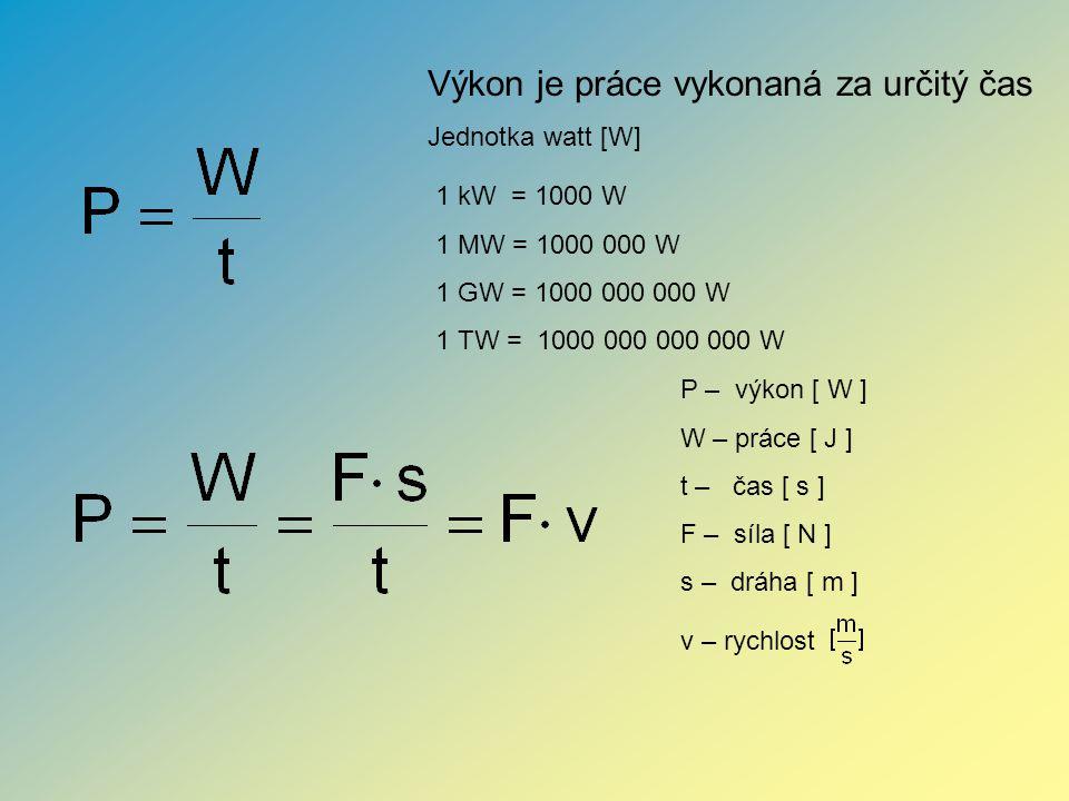 P – výkon [ W ] W – práce [ J ] t – čas [ s ] F – síla [ N ] s – dráha [ m ] v – rychlost Výkon je práce vykonaná za určitý čas Jednotka watt [W] 1 kW = 1000 W 1 MW = 1000 000 W 1 GW = 1000 000 000 W 1 TW = 1000 000 000 000 W