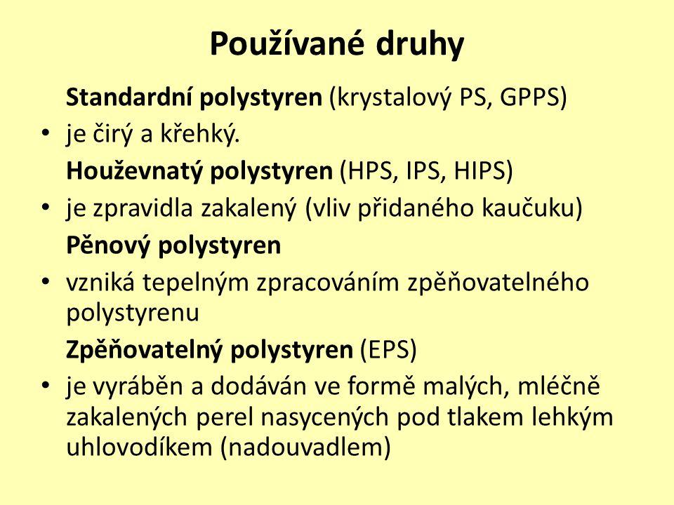 Používané druhy Standardní polystyren (krystalový PS, GPPS) je čirý a křehký. Houževnatý polystyren (HPS, IPS, HIPS) je zpravidla zakalený (vliv přida