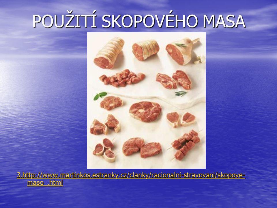 POUŽITÍ SKOPOVÉHO MASA 3.http://www.martinkos.estranky.cz/clanky/racionalni-stravovani/skopove- maso_.html 3.http://www.martinkos.estranky.cz/clanky/r