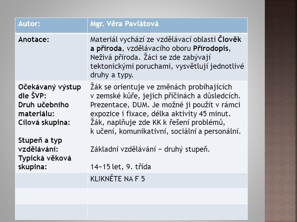 Autorem materiálu a všech jeho částí, není-li uvedeno jinak, je Věra Pavlátová. Dostupné z Metodického portálu www.rvp.cz, ISSN: 1802- 4785, financova
