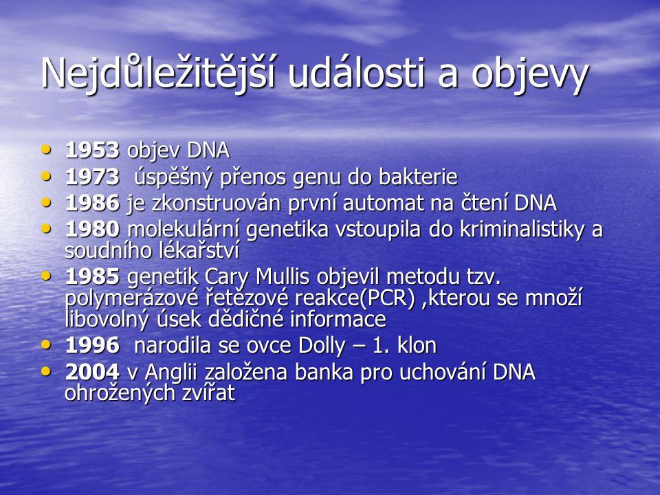 Nejdůležitější události a objevy 1953 objev DNA 1953 objev DNA 1973 úspěšný přenos genu do bakterie 1973 úspěšný přenos genu do bakterie 1986 je zkonstruován první automat na čtení DNA 1986 je zkonstruován první automat na čtení DNA 1980 molekulární genetika vstoupila do kriminalistiky a soudního lékařství 1980 molekulární genetika vstoupila do kriminalistiky a soudního lékařství 1985 genetik Cary Mullis objevil metodu tzv.