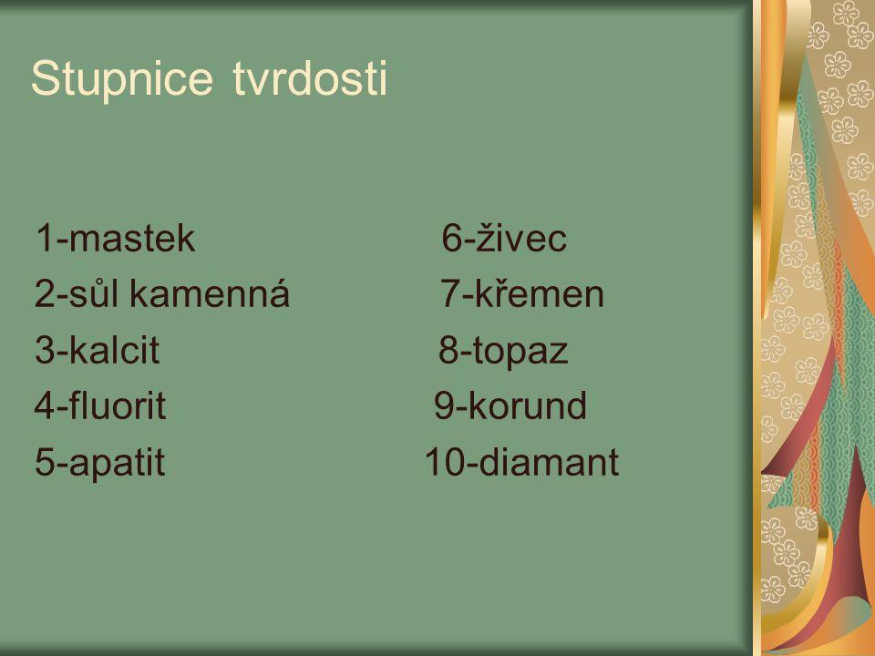 Stupnice tvrdosti 1-mastek 6-živec 2-sůl kamenná 7-křemen 3-kalcit 8-topaz 4-fluorit 9-korund 5-apatit 10-diamant