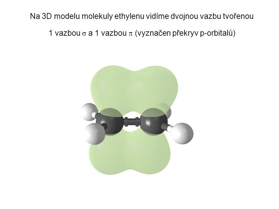 Na 3D modelu molekuly ethylenu vidíme dvojnou vazbu tvořenou 1 vazbou σ a 1 vazbou  (vyznačen překryv p-orbitalů)
