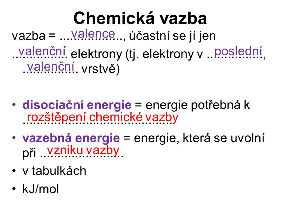 Chemická vazba vazba =.................., účastní se jí jen................ elektrony (tj. elektrony v................,................ vrstvě) disoci