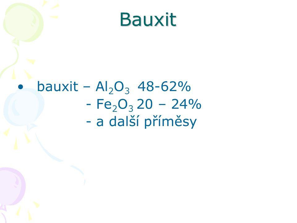 výroba čistého Al 2 O 3 z bauxitu Al 2 O 3 se rozemele a a nechá se reagovat s 40% NaOH- vznikne hlinitan sodný NaAlO 2 roztok prochází úpravami až se rozloží na Al(OH) 3 a NaOH Al(OH) 3 se odfiltruje, promyje, suší a kalcinuje při 1 100°C na Al 2 O 3