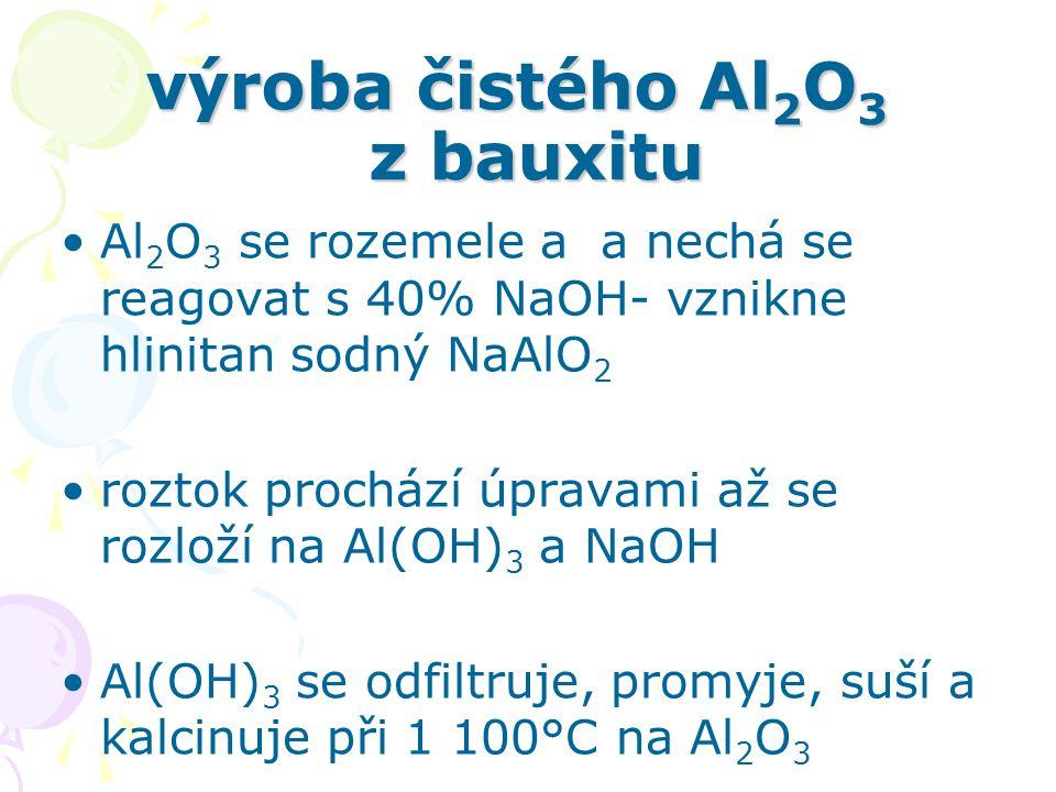 elektrolýza Al 2 O 3 Al 2 O 3 se nepoužívá v čistém stavu (vysoká t t ) – dávkování do taveniny kryolitu Na 3 [AlF 6 ] Al se vylučuje jako tavenina na katodě (uhlíkaté dno vany elektrolyzéru) anody jsou samospékavé a během elektrolýzy uhořívají