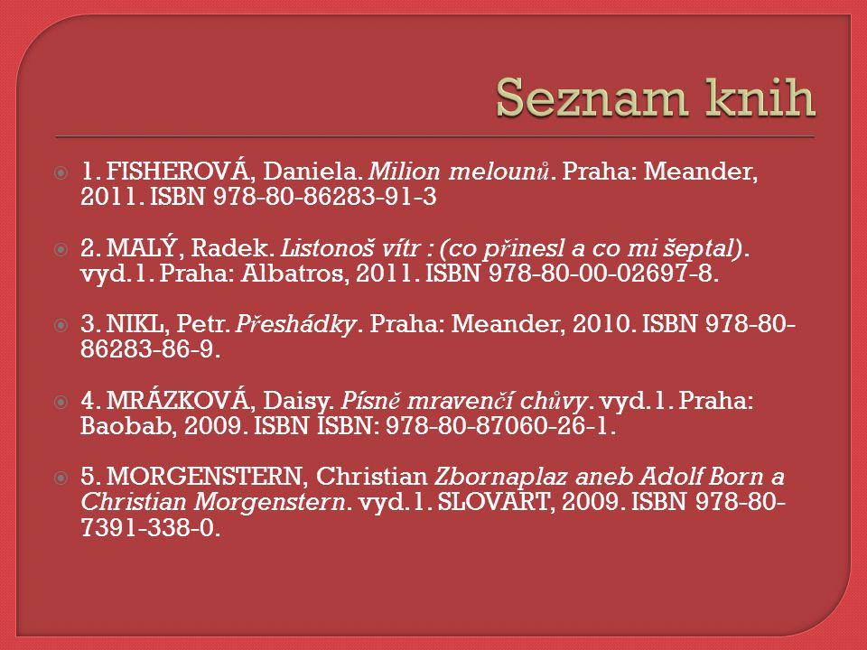  1. FISHEROVÁ, Daniela. Milion meloun ů. Praha: Meander, 2011. ISBN 978-80-86283-91-3  2. MALÝ, Radek. Listonoš vítr : (co p ř inesl a co mi šeptal)