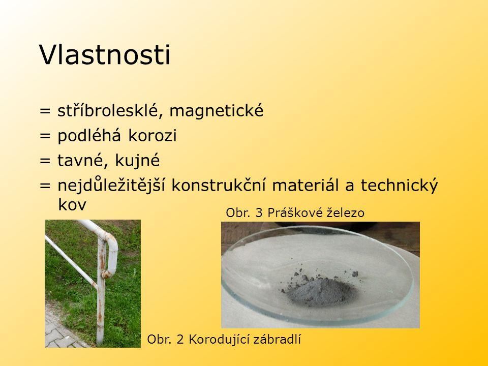 Vlastnosti = stříbrolesklé, magnetické = podléhá korozi = tavné, kujné = nejdůležitější konstrukční materiál a technický kov Obr. 2 Korodující zábradl