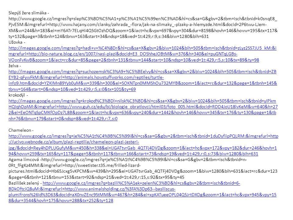 Slepýš žere slimáka - http://www.google.cz/imgres?q=slep%C3%BD%C5%A1+p%C3%A1%C5%99en%C3%AD&hl=cs&sa=G&gbv=2&tbm=isch&tbnid=k0snqE8_ PjvE5M:&imgrefurl=