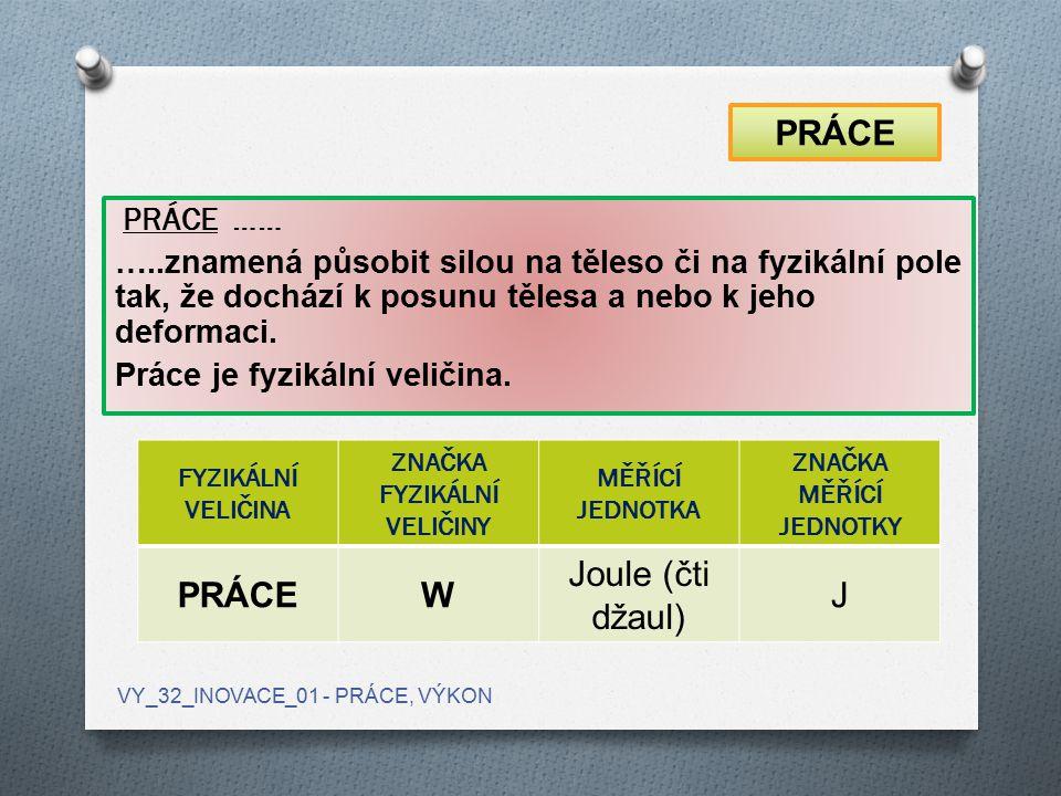FYZIKÁLNÍ VELIČINA ZNAČKA FYZIKÁLNÍ VELIČINY MĚŘÍCÍ JEDNOTKA ZNAČKA MĚŘÍCÍ JEDNOTKY PRÁCEW Joule (čti džaul) J PRÁCE …… …..znamená působit silou na tě