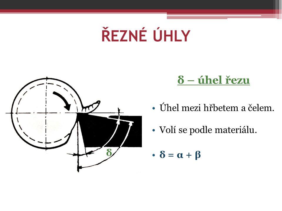 ŘEZNÉ ÚHLY δ – úhel řezu Úhel mezi hřbetem a čelem. Volí se podle materiálu. δ = α + β δ