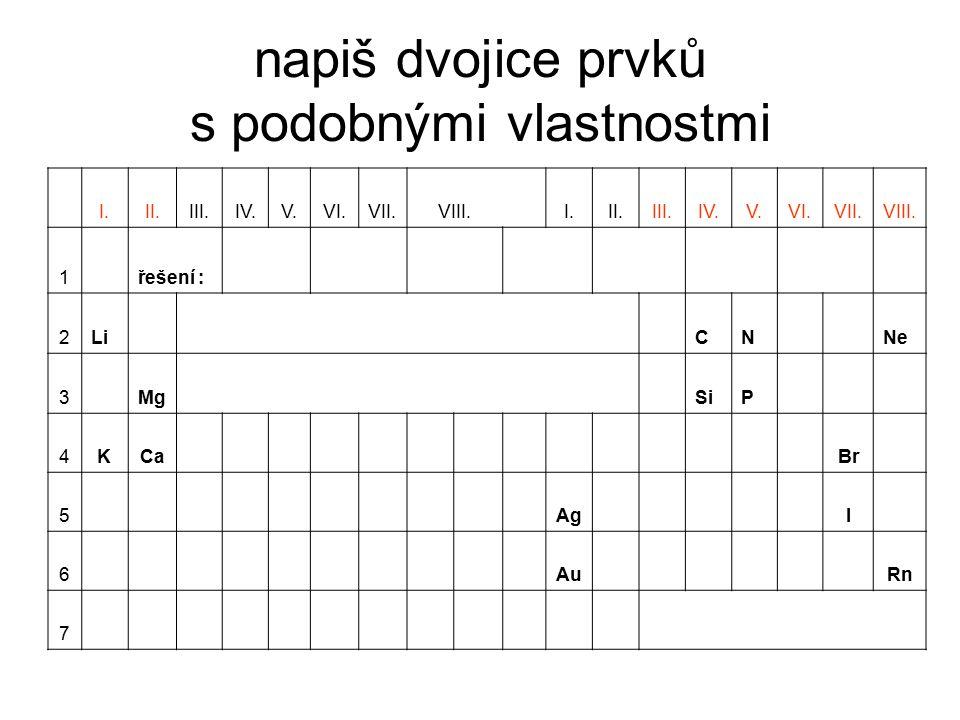 napiš dvojice prvků s podobnými vlastnostmi I.II.III.IV.V.VI.VII.VIII. I.II.III.IV.V.VI.VII.VIII. 1řešení : Li, KMg, CaAg, AuC, SiN, PBr, INe, Rn 2LiC