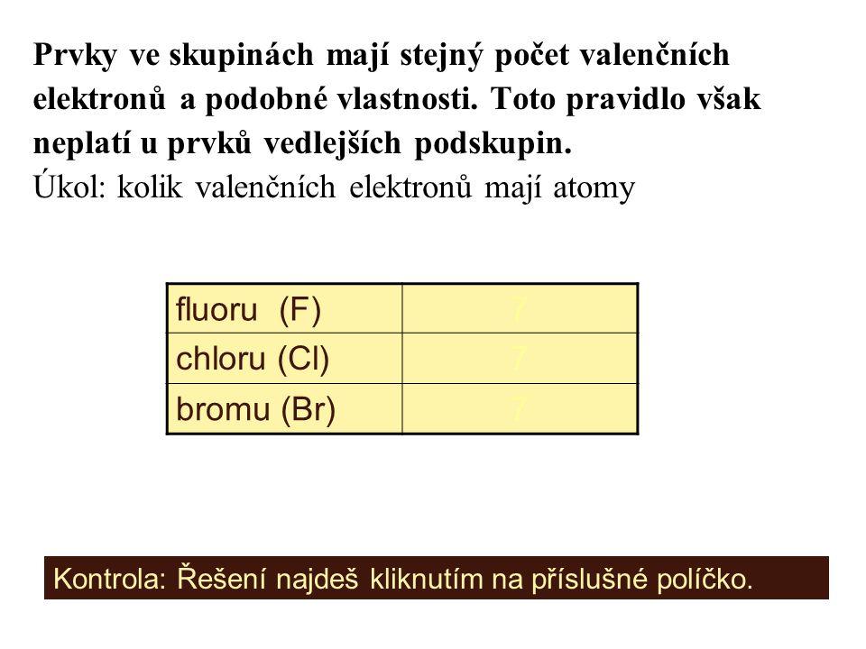 Prvky ve skupinách mají stejný počet valenčních elektronů a podobné vlastnosti. Toto pravidlo však neplatí u prvků vedlejších podskupin. Úkol: kolik v