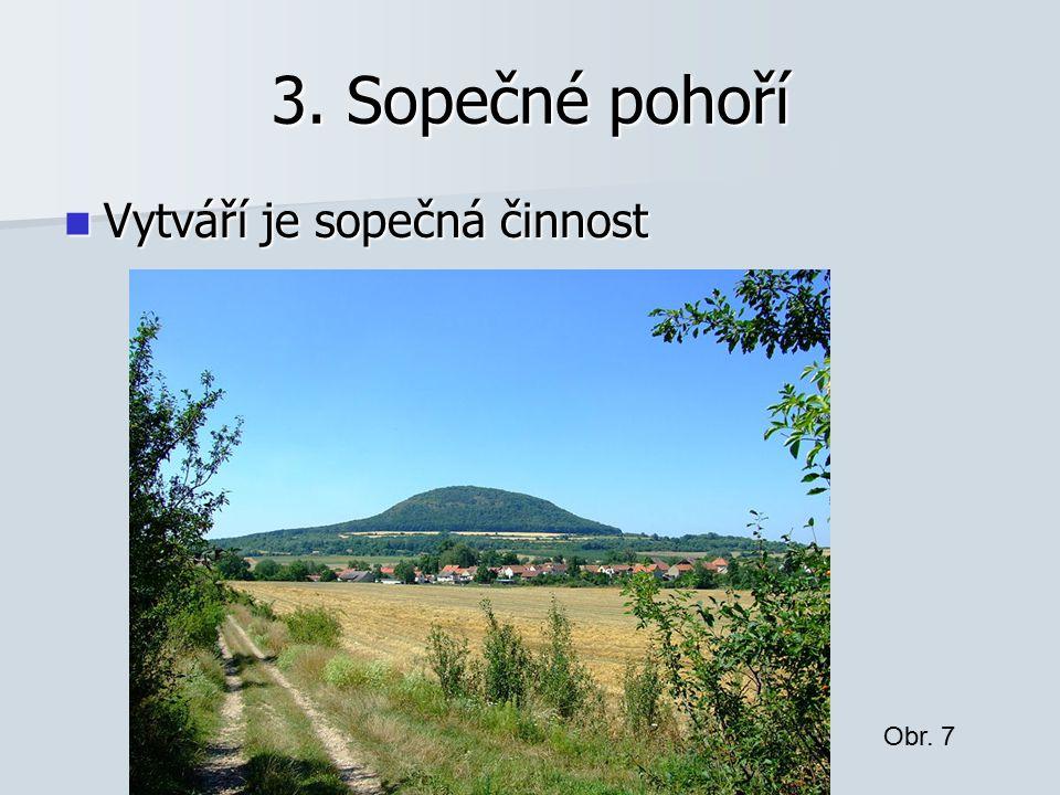 3. Sopečné pohoří Vytváří je sopečná činnost Vytváří je sopečná činnost Obr. 7