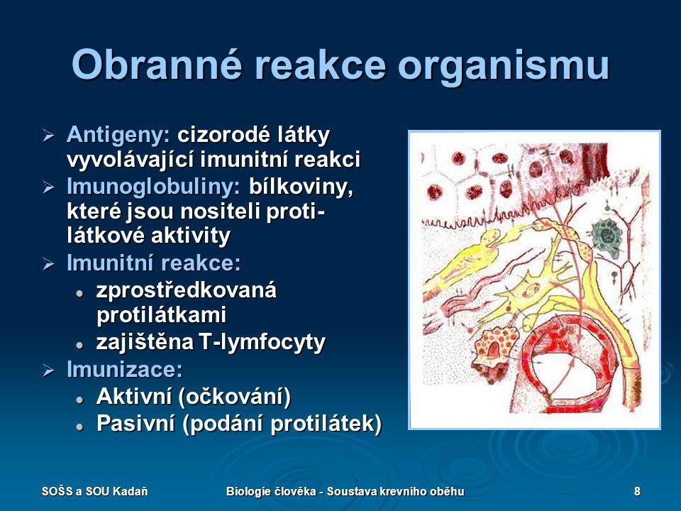 SOŠS a SOU KadaňBiologie člověka - Soustava krevního oběhu8 Obranné reakce organismu  Antigeny: cizorodé látky vyvolávající imunitní reakci  Imunogl