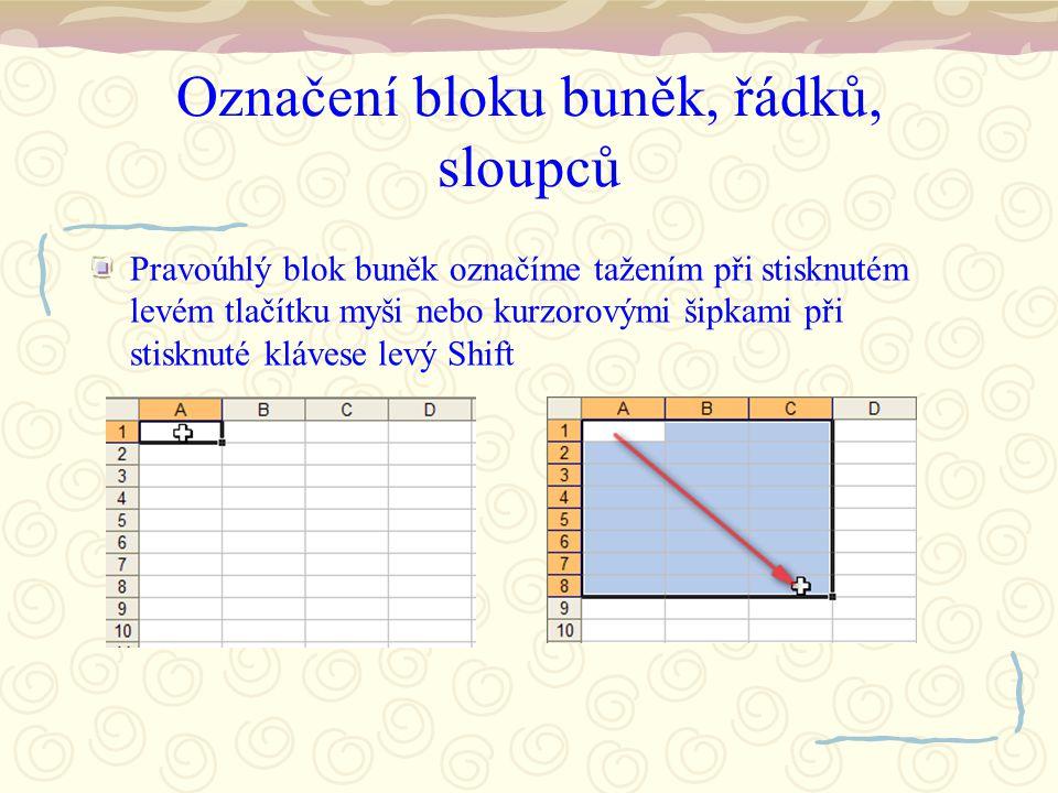Označení bloku buněk, řádků, sloupců Pravoúhlý blok buněk označíme tažením při stisknutém levém tlačítku myši nebo kurzorovými šipkami při stisknuté klávese levý Shift