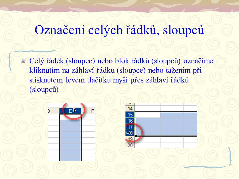 Označení celých řádků, sloupců Celý řádek (sloupec) nebo blok řádků (sloupců) označíme kliknutím na záhlaví řádku (sloupce) nebo tažením při stisknutém levém tlačítku myši přes záhlaví řádků (sloupců)